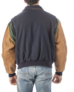REED Men's Premium Quality Leather Letterman Varsity Jacket Made in USA