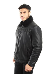 REED Men's Smooth Lamb Touch Faux Leather Detachable Fur Collar Classic Jacket
