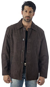 REED Men's Quello 4 Button Water Repellent Suede Leather Jacket
