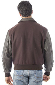 REED Men's Leather Top Gun Varsity Bomber Jacket Made in USA