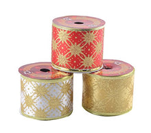 Load image into Gallery viewer, eZthings Classic Wired Sheer Glitter Ribbon for Christmas Gift Wrapping and Holiday Decor
