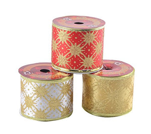 eZthings Classic Wired Sheer Glitter Ribbon for Christmas Gift Wrapping and Holiday Decor