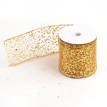 "Load image into Gallery viewer, eZthings Decorative Designer Sparkly Sheer Fabric Ribbons for Party Decor and Gift Baskets (10 Yard, Gold(3.5"" Width))"