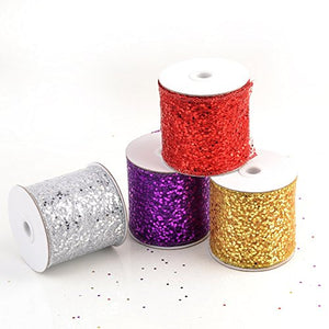 "eZthings Decorative Designer Sparkly Sheer Fabric Ribbons for Party Decor and Gift Baskets (10 Yard, Gold(3.5"" Width))"
