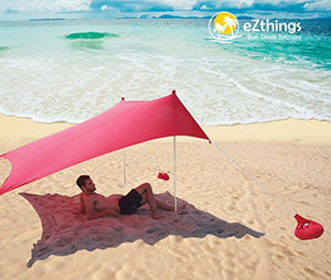 eZthings UV Light Sun Shade Protection Beach Shelters - Lightweight Tent Canopy with Sandbag Anchors