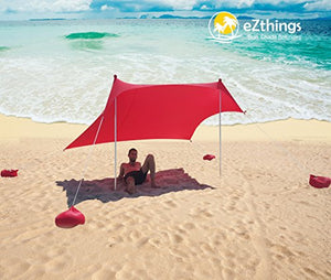 UV Light Sun Shade Protection Beach Shelters - Lightweight Tent Canopy with Sandbag Anchors