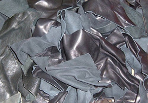 Leather Scraps from Garment Leather Cutting (2 Pounds Mostly Black)
