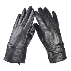 women leather gloves 2x black