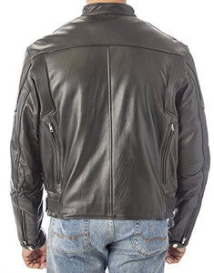REED Men's Premium Quality Leather Motorcycle Jacket with Zipper Air Vents - Imported
