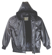 Load image into Gallery viewer, REED Men's Detachable Hooded Faux Fur Leather Bomber Jacket with Baseball Style Collar