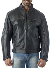 Load image into Gallery viewer, Vented Leather Motorcycle Jacket with Light Reflector - Imported