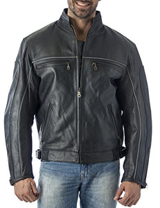 Vented Leather Motorcycle Jacket with Light Reflector - Imported