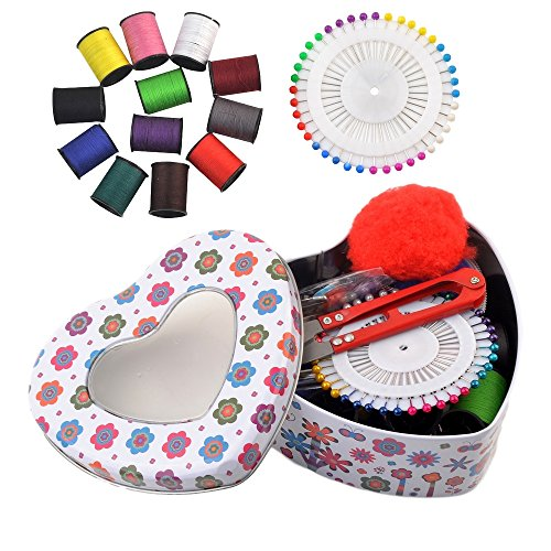 eZthings Professional Sewing Supplies Variety Sets and Kits for Arts and Crafts (Heart)