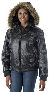 REED Women's Detroit Streets Leather Bomber Coat with Zip Out Hoody