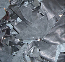 Load image into Gallery viewer, Leather Scraps from Garment Leather Cutting (2 Pounds Mostly Black)