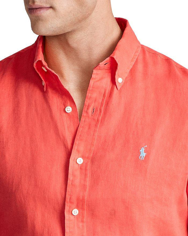 Classic Fit Linen Shirt In Racing Red