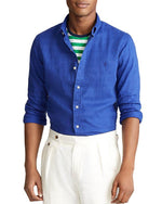 Classic Fit Linen Shirt In Royal Blue