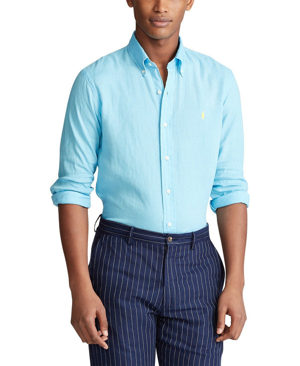 Classic Fit Linen Shirt In Neptune Blue