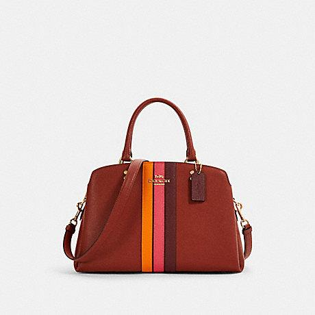 Coach Lillie Carryall With Varsity Stripe In Terracotta Electric Pink