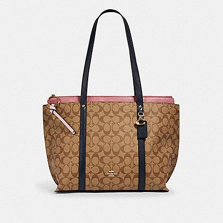Coach May Tote In Colorblock Signature Khaki Midnight Pink