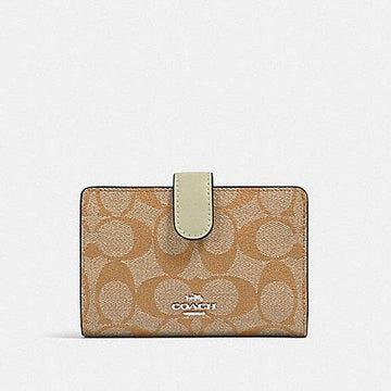 Coach Medium Corner Zip Wallet In Signature Light Khaki Pale Green