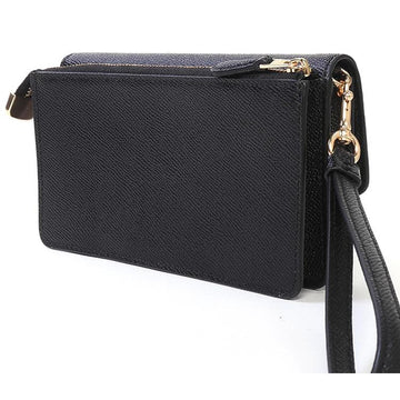 Coach Foldover Wristlet Crossgrain in Leather Black