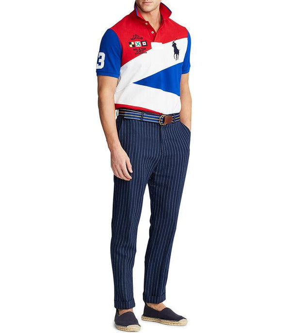 Polo Big Pony Custom Slim Fit Yacht Club In Colorblock Red White Blue
