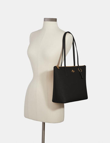Coach Zip Top Tote In Black