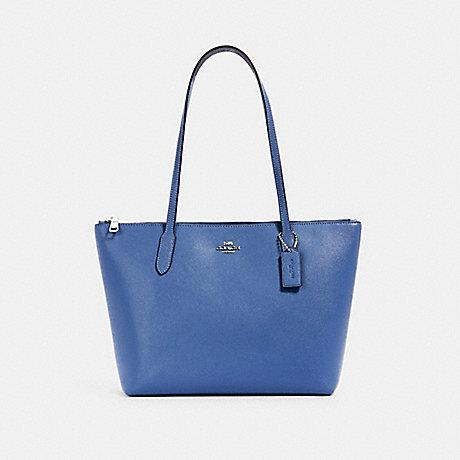 Coach Zip Top Tote In Stone Blue