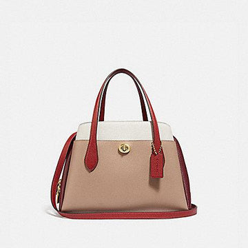 Coach Lora Carryall In Colorblock Taupe Red Sand Multi