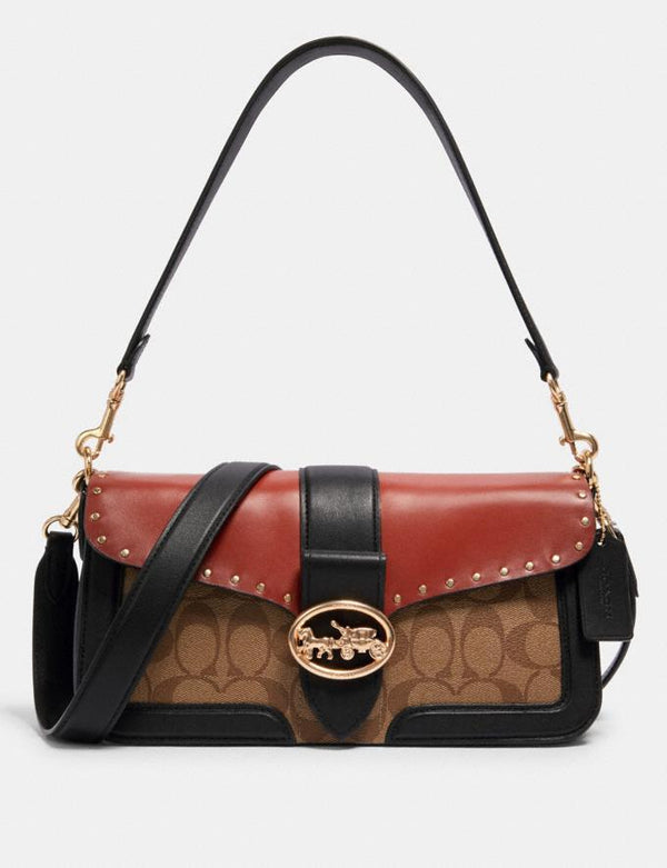 Coach Georgie Shoulder Bag In Colorblock Signature Khaki Terracotta Multi