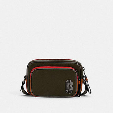 Coach Mini Edge Double Pouch Crossbody In With Coach Patch Olive Drab Multi