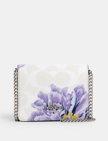 Coach Mini Wallet In Signature Canvas With Kaffe Fassett Print