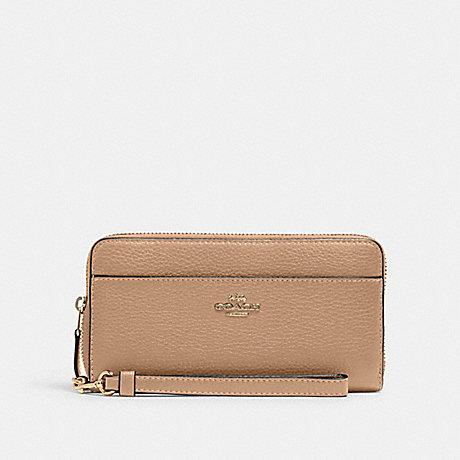 Coach Accordion Zip Wallet In Taupe