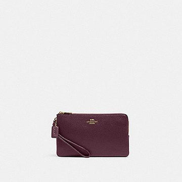 Coach Double Zip Large Wristlet In Boysenberry Pebbled Leather