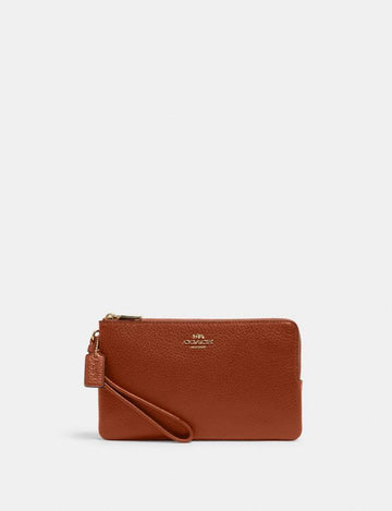 Coach Double Zip Large Wristlet In Redwood Pebbled Leather