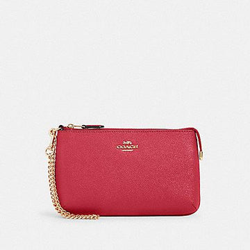 Coach Large Wristlet With Chain In Electric Pink