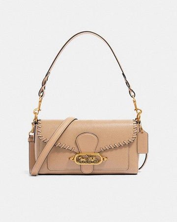 Coach Small Jade Shoulder Bag With Whipstitch Taupe