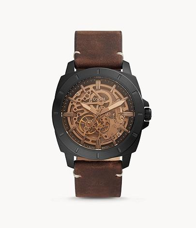 Fossil Men Privateer Sport Mechanical Brown Leather Watch BQ2429