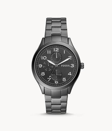 Fossil Men Wylie Multifunction Smoke Stainless Steel Watch BQ2485