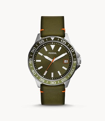 Fossil Men Bannon Three-Hand Date Green Leather Watch BQ2520