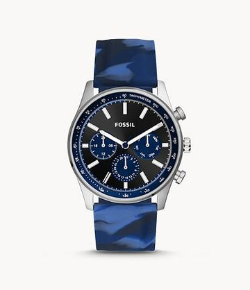 Fossil Men Sullivan Multifunction Blue Camo Silicone Watch BQ2529