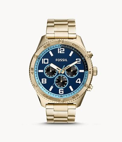 Fossil Men Brox Multifunction Gold-Tone Stainless Steel Watch BQ2531