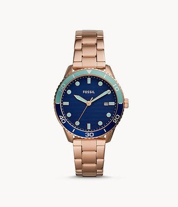 Fossil Women Dayle Three-Hand Date Rose Gold-Tone Stainless Steel Watch BQ3599