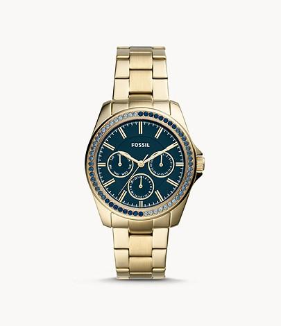 Fossil Women Janice Multifunction Gold-Tone Stainless Steel Watch BQ3612