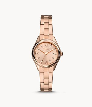 Fossil Women Rye Three-Hand Date Rose Gold-Tone Stainless Steel Watch BQ3639