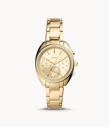 Fossil Women Vale Chronograph Gold-Tone Stainless Steel Watch BQ3658