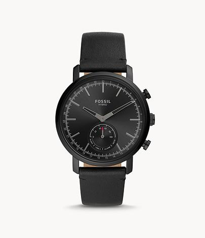 Fossil Men Hybrid Smartwatch Luther Black Leather BQT1101