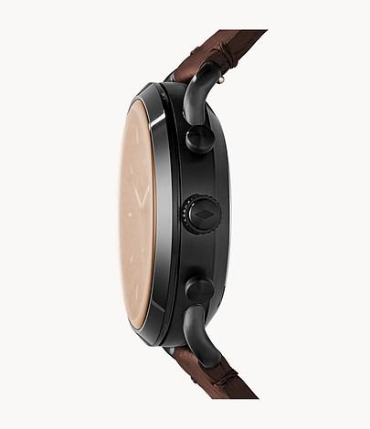 Fossil Men Hybrid Smartwatch Commuter Dark Brown Leather FTW1149
