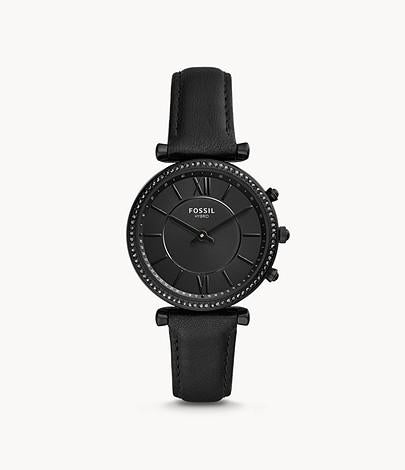Fossil Women Hybrid Smartwatch Carlie Black Leather FTW5038